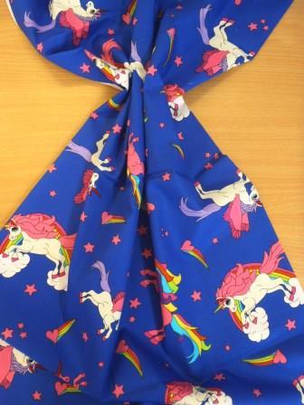 Cotton Fabric Unicorns Extra Large 100% Cotton Royal