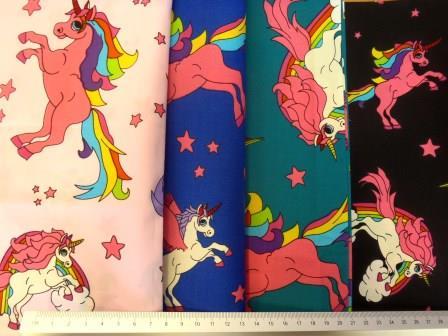 Cotton Fabric Unicorns Extra Large 100% Cotton