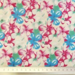 Cotton Fabric Floral Forget Me Not Cream/Turq