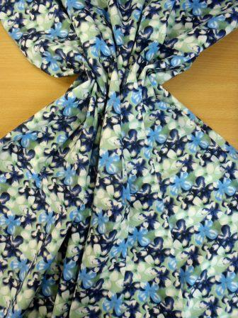 Cotton Fabric Floral Forget Me Not Navy/Mint