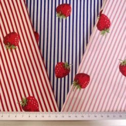 Cotton Fabric Strawberry Stripe 100% Cotton