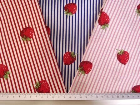 Cotton Fabric Strawberry Stripe 100% Cotton