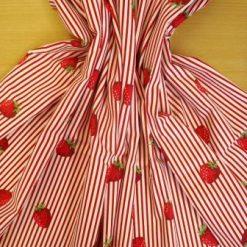 Cotton Fabric Strawberry Stripe 100% Cotton Red