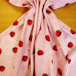 Cotton Fabric Strawberry Stripe 100% Cotton Pink