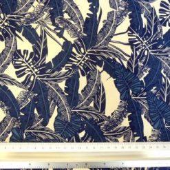 Cotton Fabric Palm Leaf Navy 100% Cotton