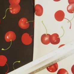 Fruit Cotton Fabric Ripe Cherries