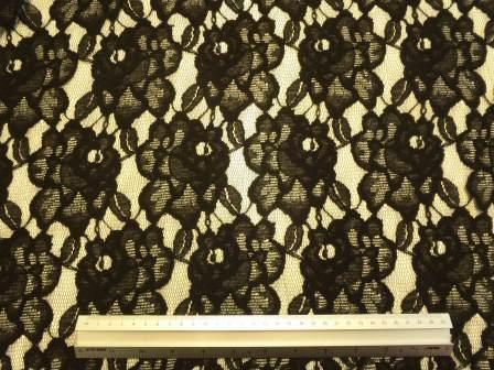 Lace Fabric Heavy Flower Middle March Black