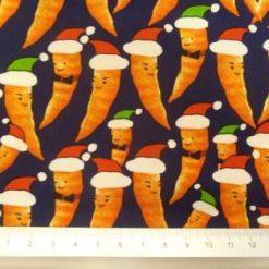 Cotton Fabric Christmas Carrots Navy