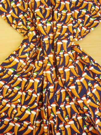 Cotton Fabric Christmas Carrots Navy