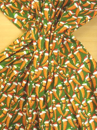 Cotton Fabric Christmas Carrots Green