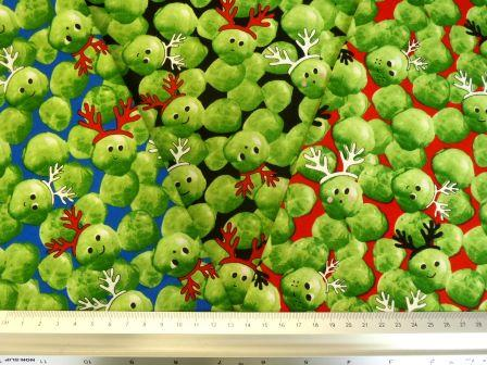 Cotton Fabric Christmas Festive Sprouts