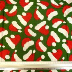Cotton Fabric Christmas Hats Green