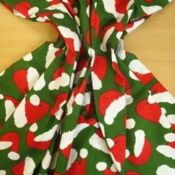 Cotton Fabric Christmas Hats Green