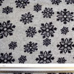 Winter Jersey Fabric Black Snowflakes
