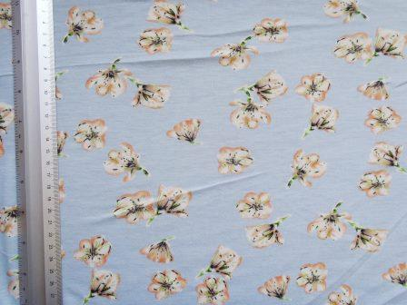 T-Shirting Fabric Blue Trumpet Flower