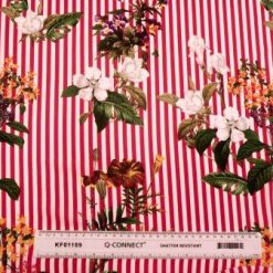 Crepe De Chine Fabric Stripes And Flowers Spring Time