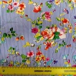 Viscose Fabric Floral Stripe Blue Bouquet