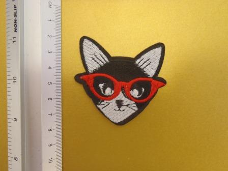 Cat With Glasses Sew On Motif