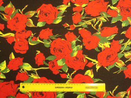 rock star roses linen look cotton
