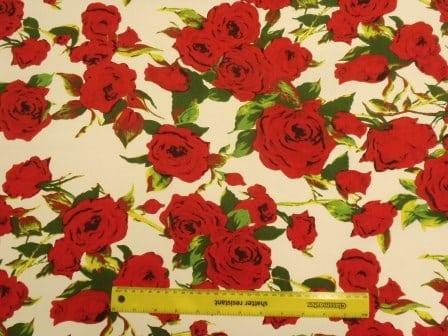 Linen Look Cotton Fabric Rock Star Roses
