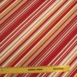 Stretch Cotton Fabric Diagonal Stripe Red