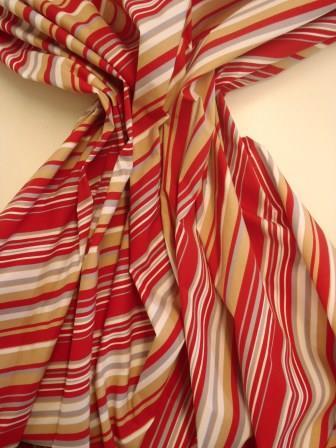 Stretch Cotton Fabric Diagonal Stripe Red