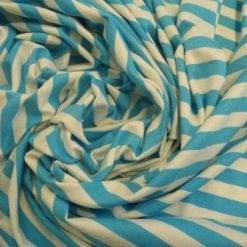 Jersey T-Shirting 1cm Stripe turquoise/ivory