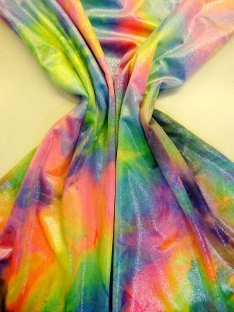 cosmic rain rainbow glitter tye dye velvet lycra
