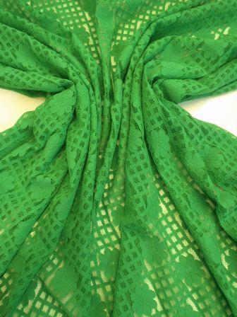 Lace Fabric Daisy Block Heavy Lace green