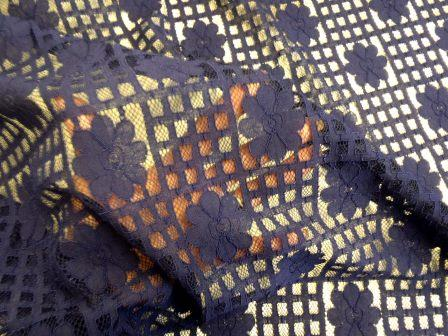 Lace Fabric Daisy Block Heavy Lace navy