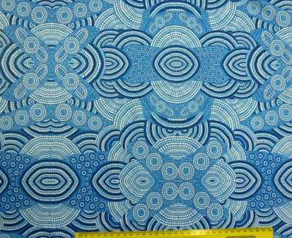 Lycra Patterned Fabric Tribal Water Blue