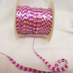 Strung Sequin Trimming 6mm Wide Multi Mix cerise/silver