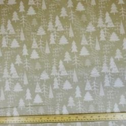Christmas Fabric Polyester Cotton Silver Forest