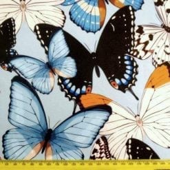 Lycra Patterned Fabric Butterfly Boutique Blue