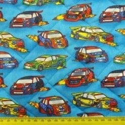Quilting Fabric Turquoise Fast Cars