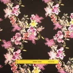 Scuba Jersey Fabric Anemone Black Flower
