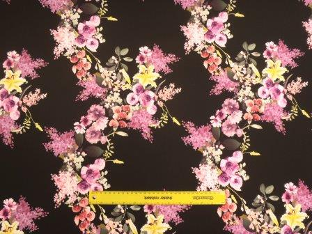 Scuba Jersey Fabric Anemone Black Flower