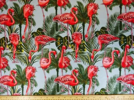 Lycra Patterned Fabric Tropical Flamingos