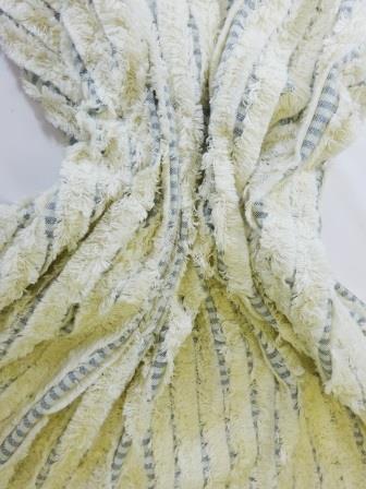 Suiting Fabric Natural Denim Striped Fringe