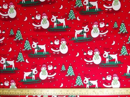 Christmas Fabric 100% Cotton Ski-ing Reindeer