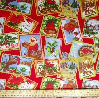 Christmas Postage Stamps Red