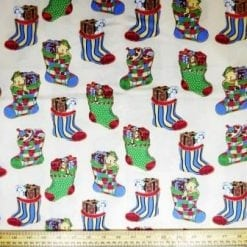 Cotton Fabric Christmas Stockings cream