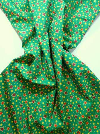 Christmas Cotton Fabric Follow The Stars green