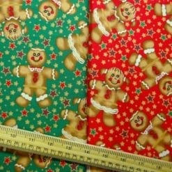 Christmas Cotton Fabric Large Gingerbread Men