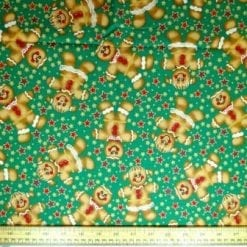 Christmas Cotton Fabric Large Gingerbread Men green