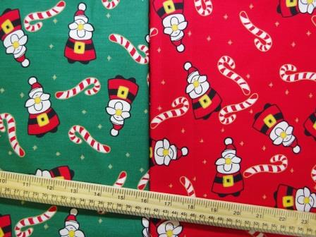 christmas cotton fabric candy canes with santa