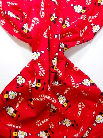 Christmas Cotton Fabric Candy Canes With Santa red