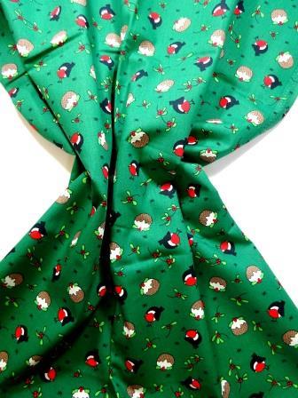 Christmas Cotton Fabric Christmas Robin green