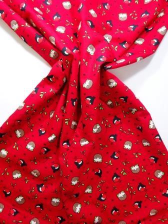 Christmas Cotton Fabric Christmas Robin red