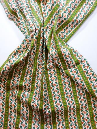Christmas Cotton Fabric Regal Holly Stripe green